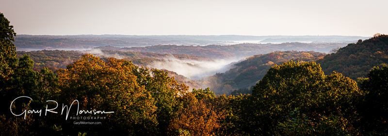 Fall morning with fog in the valleys Brown County SP