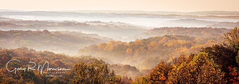 Foggy fall sunrise Brown County SP